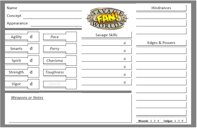 Savage Worlds NPC Sheet | STUFFER SHACK